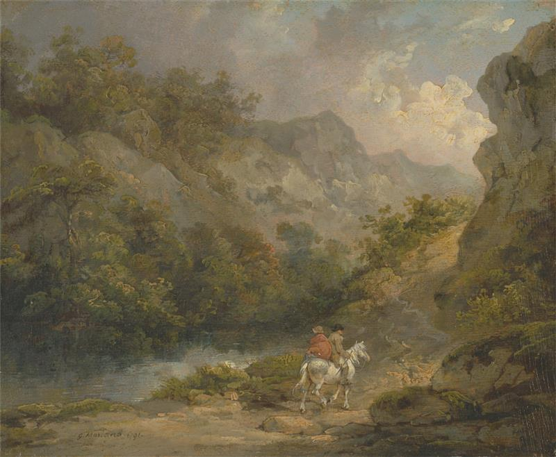Rocky Landscape with Two Men on a Horse