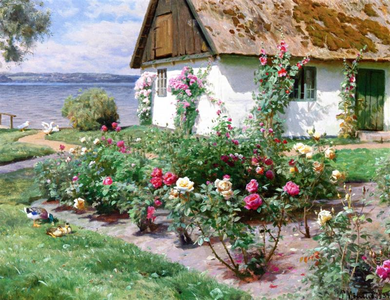 Rose Bushes and a Cottage by the Water, Sørup