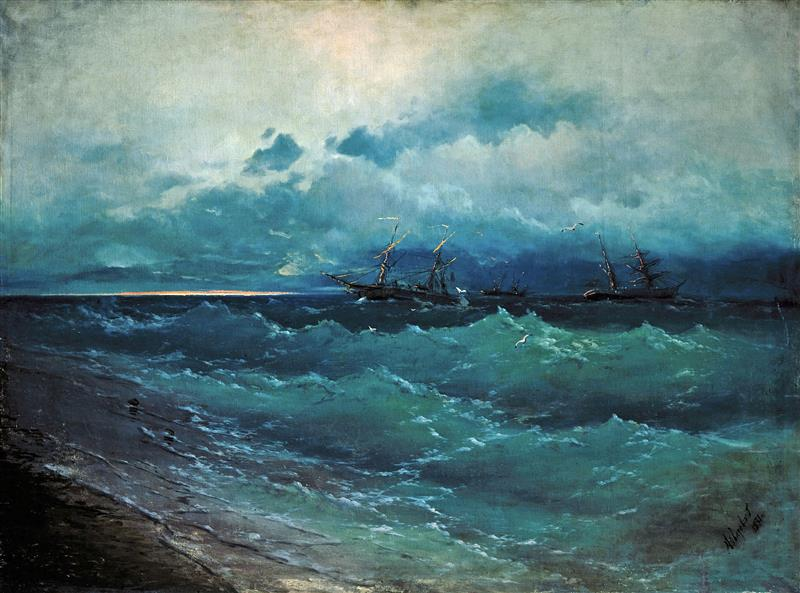 Ships in a Rough Sea; Sunrise
