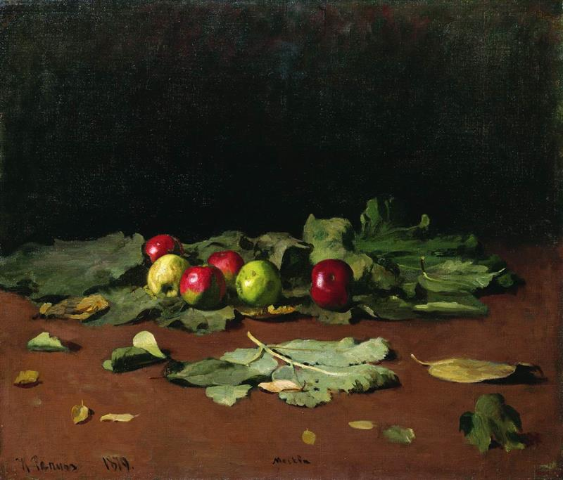 Still Life of Apples and Leaves