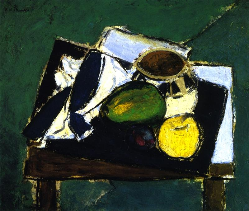 Still Life with Ceramic Bowl on Green Background