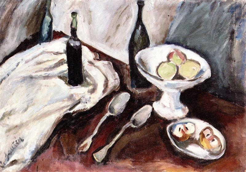 Still Life with a Fruit Bowl and Three Bottles