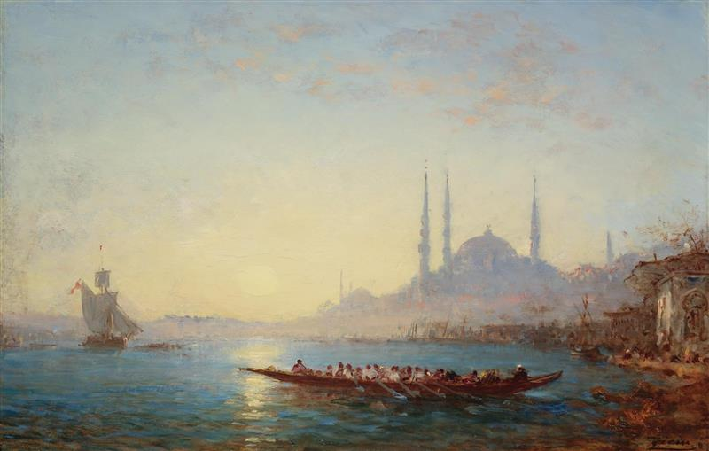 Sunset on the Bosphorus and the Hagia Sophia