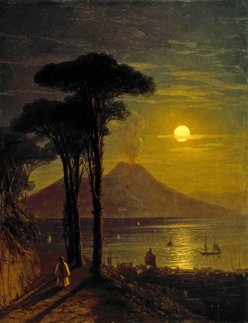 The Bay of Naples on a Moonlit Night and Vesuvius
