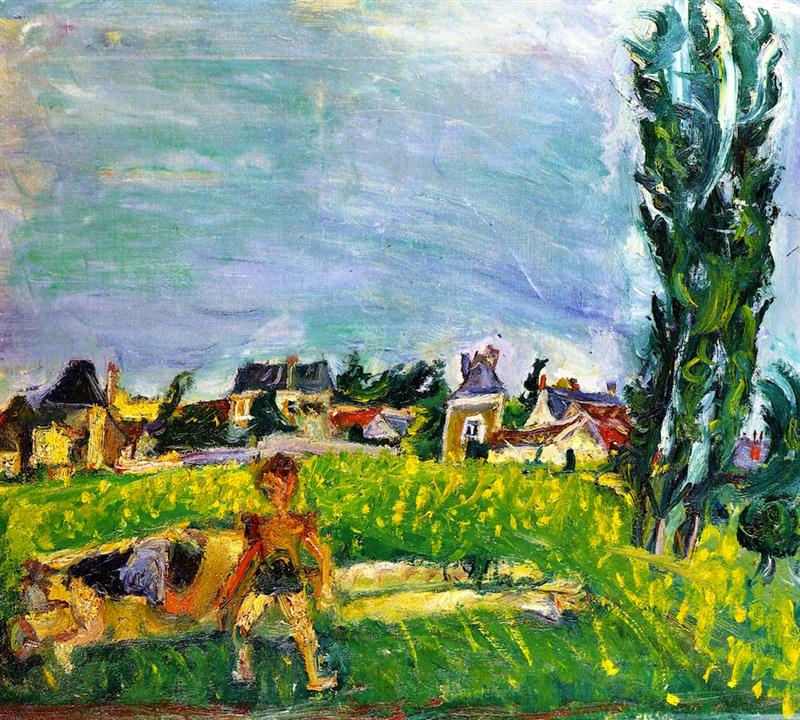 Two Children at Champigny Under a Blue Sky