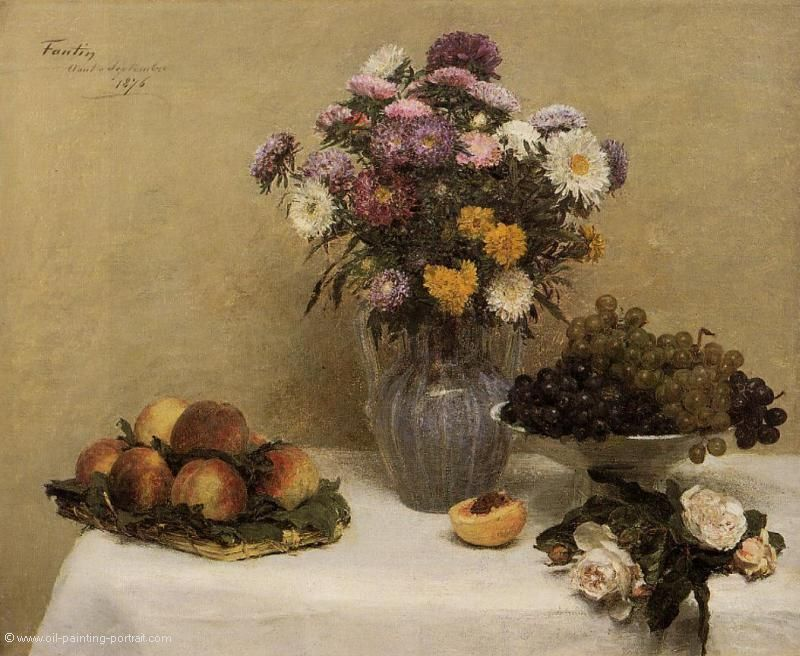 White Roses Chrysanthemums in a Vase Peaches and Grapes on a Table with a white Tablecloath