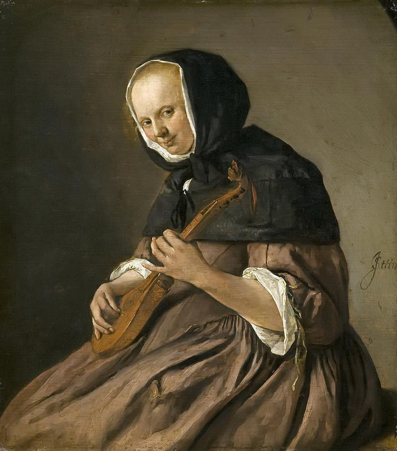 Woman Playing the Cittern