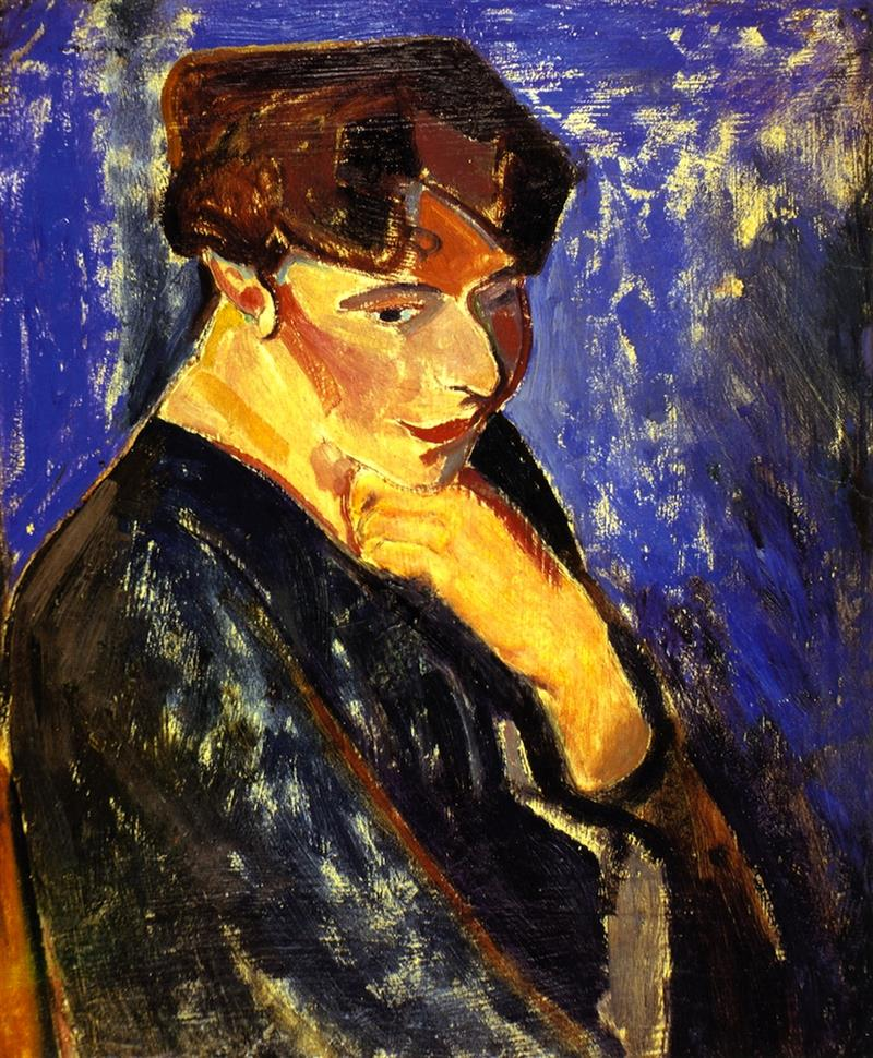 Woman with Blue Background