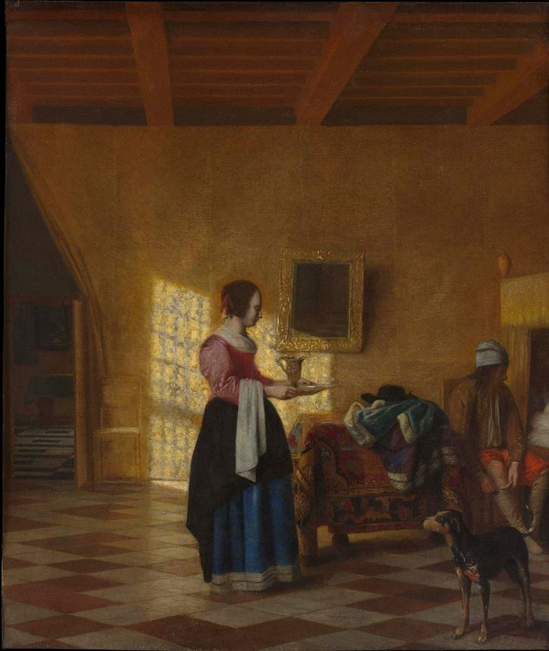 Woman with a Water Pitcher, and a Man by a Bed