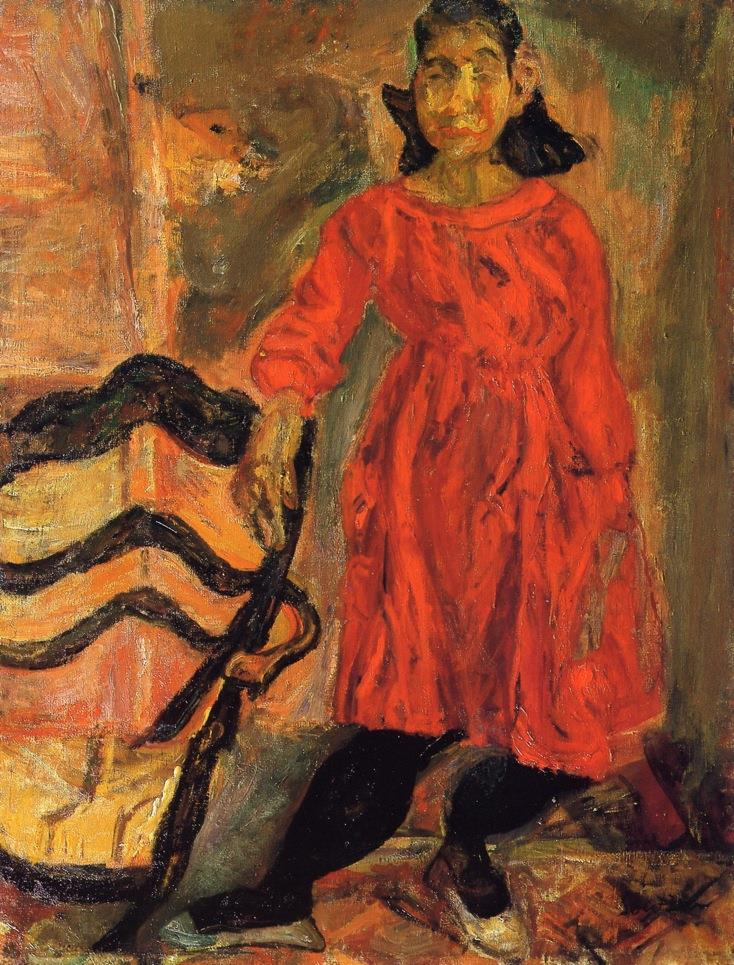 Young Girl in Red beside a Chair