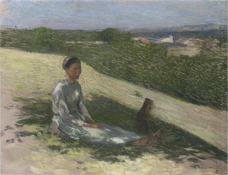 Young peasant girl and her dog