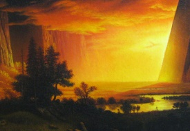 Albert Bierstadt Sunset in the Yosemite Valley Detail