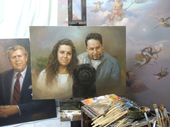 Family with dog Pet Portrait Painting