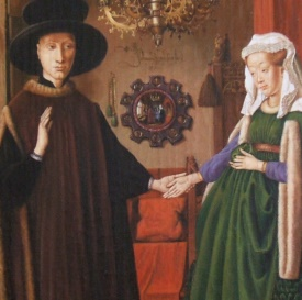 Jan van Eyck Portrait of Giovanni Arnolfini and his Wife Detail