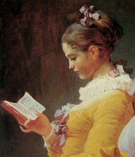 Jean-Honoré Fragonard  A young girl reading Detail