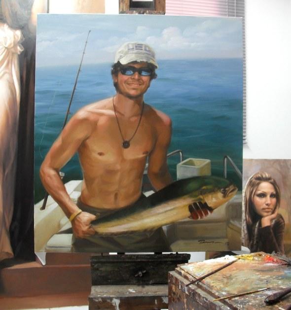 Portraitgemälde Angler