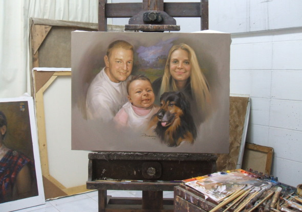 Family with dog Painting