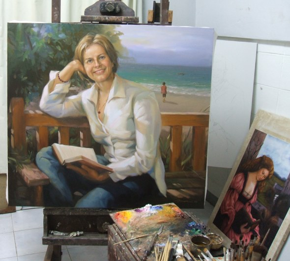 Woman at beach Painting on commission