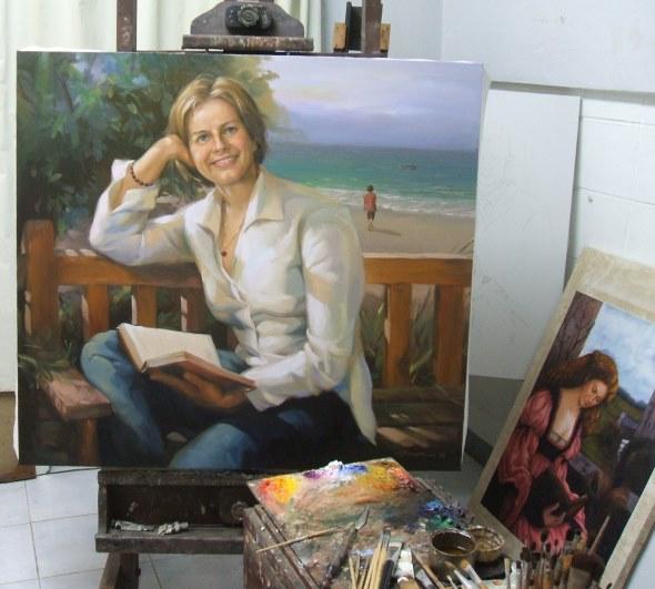 Frau am Strand Auftragsmalerei