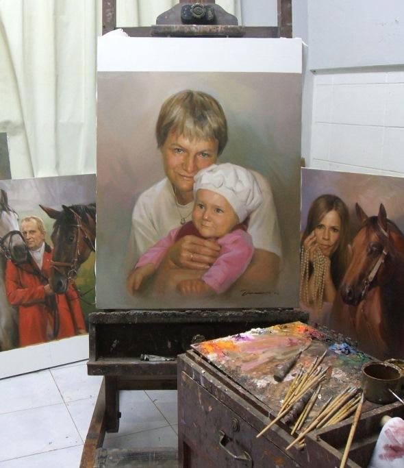 Frau Kind Gemälde