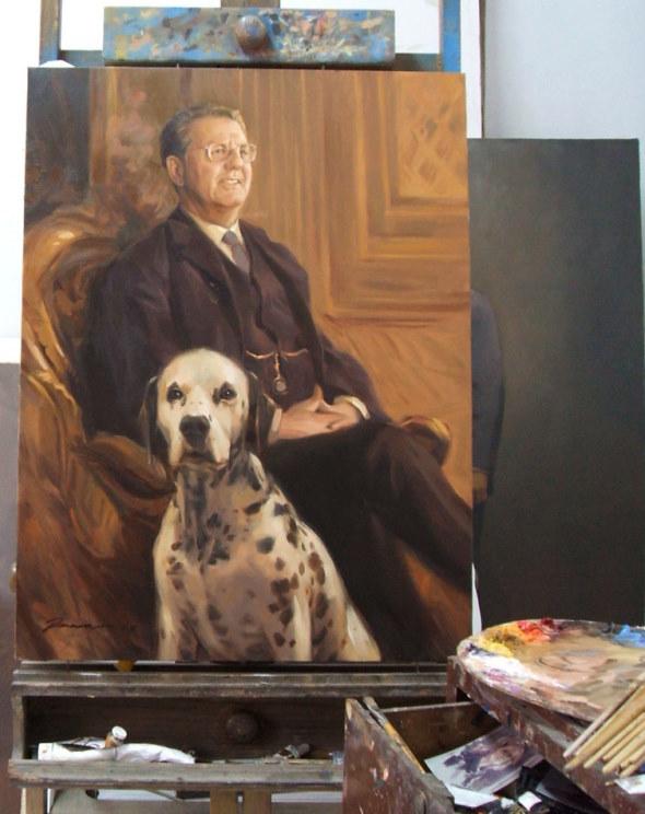 Geschäftsmann mit Hund Gemälde