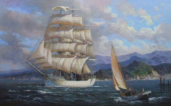 Segelschiffe auf dem meer  Seeschlachten - Gemälde Historischer Seeschlachten